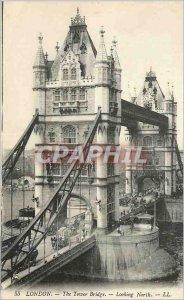 Old London Postcard the tower bridge looking north