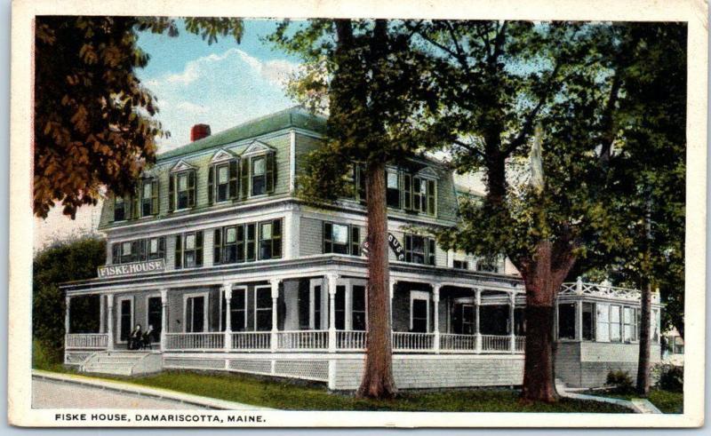 Damariscotta Maine Postcard Fiske House Hotel Street View Curteich C1920s