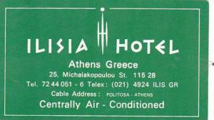 GREECE ATHENS ILISIA HOTEL VINTAGE LUGGAGE LABEL
