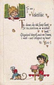 VALENTINE'S DAY, PU-1916; To My Valentine Poem, Dancing Monkey Music Box