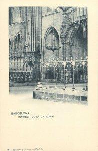 Postcard Spain Barcelona interior de cathedral