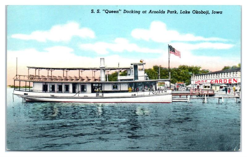 1955 SS Queen at Arnolds Park, Lake Okoboji, IA Postcard
