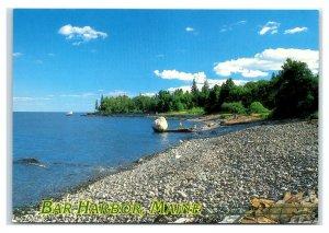 Postcard Bar Harbor, Maine Balance Rock on Shore Path ME MS112