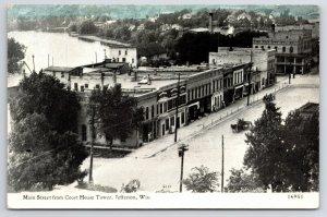 Jefferson WI Birdseye View of Main St and Rock River~c1910 Bluesky CU Williams