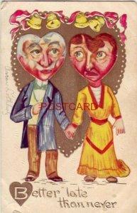 1910 BETTER LATE THAN NEVER - wedding bells ring for elderly couple - embossed