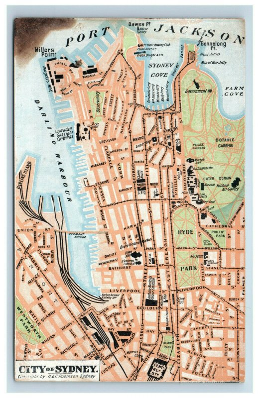 c. 1910 City of Sydney Australia Map Postcard by H.E.C. Robinson Port Jackson