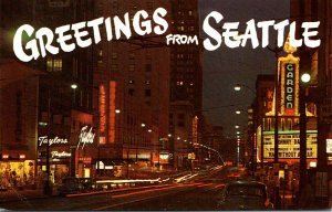 Washington Seattle Greetings With View Of Third Street Looking South At Night