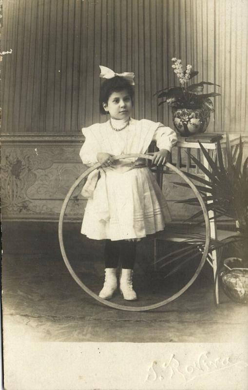 Young Spanish Girl in Dress with Hula Hoop Toy (1910s) RPPC