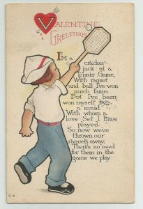 Antique POSTCARD ~ VALENTINE GREETINGS ~ Racquet Tennis Ball ~Mailed 1911