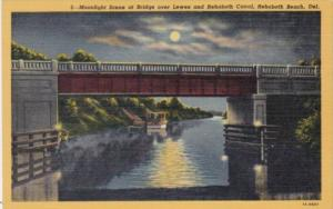 Delaware Rehoboth Beach Moonlight Scene At Bridge Over Lewes and Rehobth Cana...