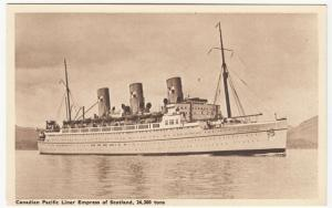 Shipping; Canadian Pacific Liner Empress Of Scotland PPC, Unused, c 1930's