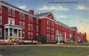 Main Barracks, Fort Meade, Maryland, Early Linen Postcard, Used in 1944