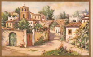 View of a village Fine painting. nice Spanish postcard 1930s