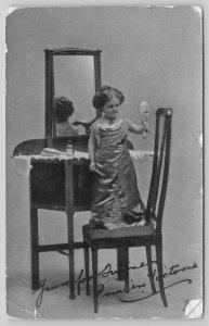 Melbourne AU~RPPC Handheld Mirror To See Backside~Midget Princess Victoria~TUCK