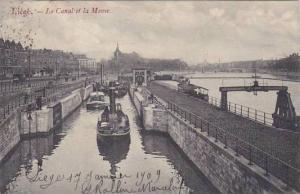 Belgium Liege Le Canal et la Meuse 1909