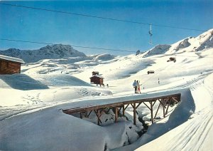 Postcard Switzerland Arosa Carmennalift cable cart ski winter snow mountains