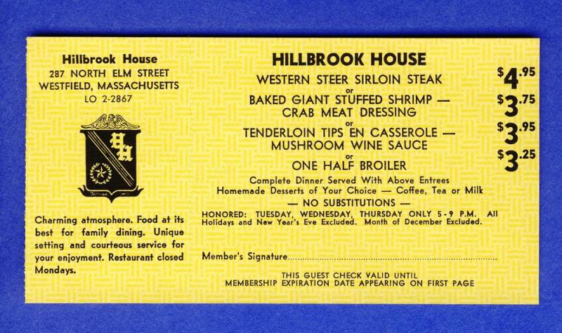 1968 Hillbrook House 'Dine-Out' Coupon, Westfield, Mass/MA