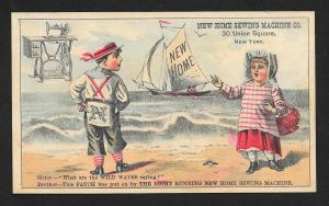 VICTORIAN TRADE CARD New Home Sewing Machine Couple Beach