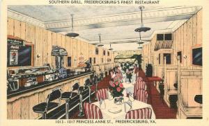 Cussons 1940s Southern Grill restaurant Interior Postcard linen 11750 Virginia
