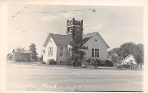 D40/ Mecosta Michigan Mi Real Photo RPPC Postcard 1951 Church Automobile