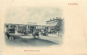 England London horse carriage at Hyde Park Corner old Post card