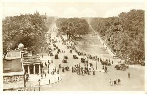 Rotten Row Hyde Park London England RPPC Real Photo aerial view old car Postcard