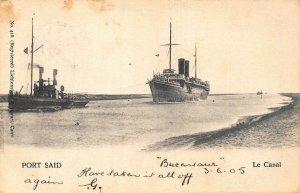 Egypt Port Said Ships Bateaux Postcard