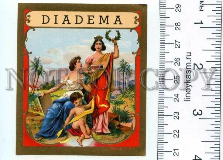 500098 DIADEMA Angel Vintage embossed cigar box label