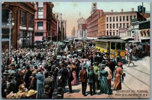 ROCHESTER NY MAIN STREET DECORATION DAY 1909 ANTIQUE POSTCARD trolley railway
