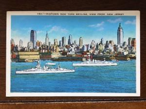 Battleships in front of Midtown, New York City Skyline, View from New Jersey D16