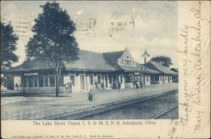 Ashtabula OH Lake Shore RR Train Depot Station LS&MS c1905 Postcard