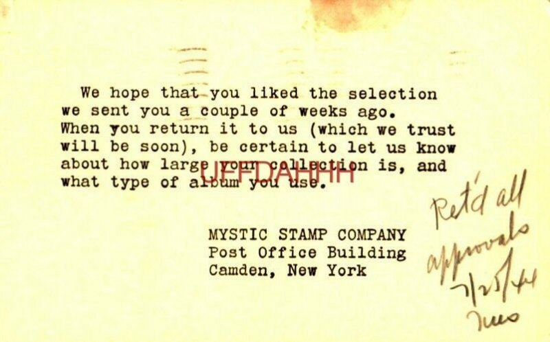 1944 WE HOPE YOU LIKED THE SELECTION, MYSTIC STAMP COMPANY, CAMDEN, NY