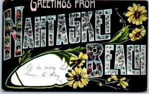NANTASKET BEACH Massachusetts Large Letter Postcard Babies' Faces 1908 Cancel