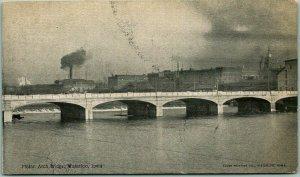 Vintage Waterloo, Iowa Postcard MELAN ARCH BRIDGE River View / 1906 Cancel