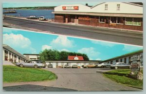 Cheticamp NS 1970s Gold Station Wagon & AMC Gremlin~Acadian Motel PC, Postcard