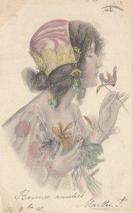 M.M.VIENNE : Woman, Art Nouveau Headdress Portrait #4 color , 1902