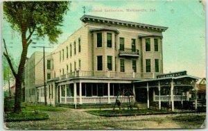 Martinsville, Indiana Postcard COLONIAL SANITARIUM Street View 1911 Cancel