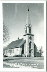 1940s Fort Atkinson, Iowa RPPC Photo Postcard St John's Catholic Church Unused