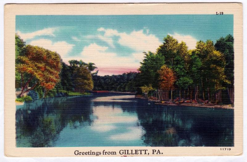 1930-1945 Greetings From Gillett PA Bradford County RARE Antique Linen Postcard