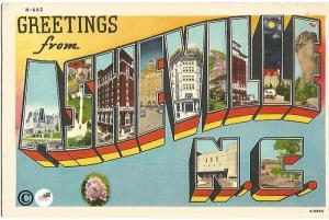 Greetings From Asheville NC Ship Large Letter Big Letter Vintage Postcard Linen