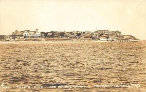 Falmouth Heights MA Tower Hotel Bathing Beach Water Front RPPC Postcard