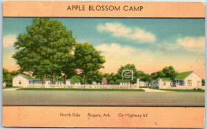 Rogers, Arkansas Postcard APPLE BLOSSOM CAMP Highway 62 Roadside Linen 1948
