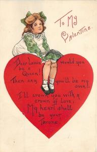 HB Griggs Valentine~Lil Girl in Line on Big Red Heart~Heart is Throne~Emboss L&E