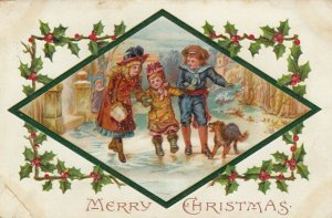 CHRISTMAS, PU-1910; Children helping toddler walk on ice, Dog, Holly frame