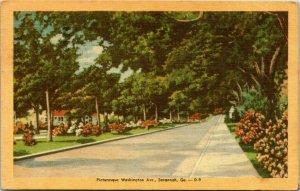 SAVANNAH, GA ~ Washington Ave Trees Flowers Landscape Linen Vintage Postcard
