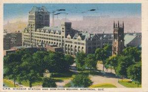 CPR Windsor Railroad Station & Dominion Square Montreal QC Quebec Canada pm 1938