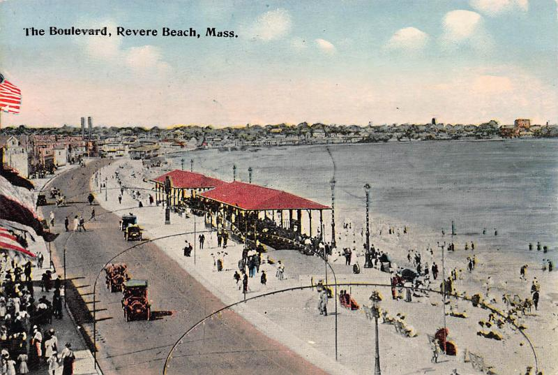 The Boulevard, Revere Beach, Massachusetts, Early Postcard, Unused