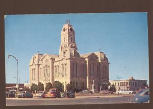WEATHERFORD TEXAS 1940's CARS COUNTY COURT HOUSE VINTAGE POSTCARD