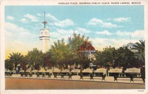 NUEVO LAREDO MEXICO HIDALGO PLAZA SHOWING PUBLIC CLOCK POSTCARD  1930s