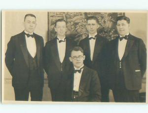 Pre-1949 rppc POSSIBLE GAY INTEREST - 5 GUYS IN SUITS & BOW TIES o2128